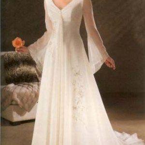 Whimsical Poet Sleeved Elvish Wedding Dress Boho